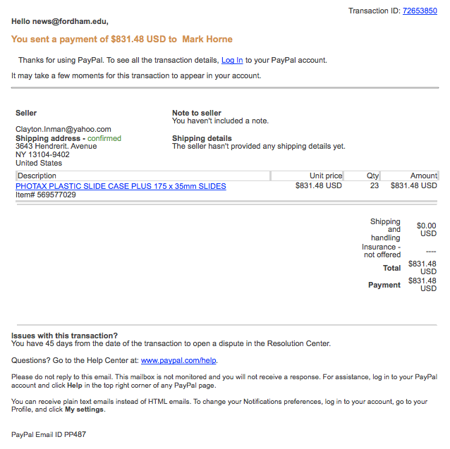 Your Paypal com transaction confirmation – Phishing Email