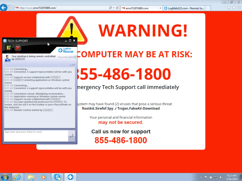 Virus and User support scams.